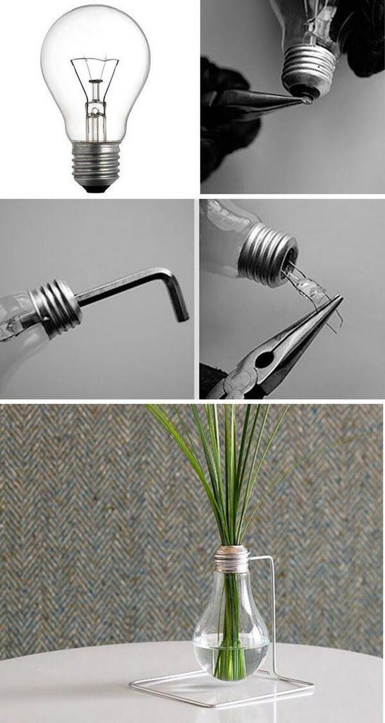 Tutorial Membuat Vas Bunga Dari Bohlam Lampu Bekas Handmade