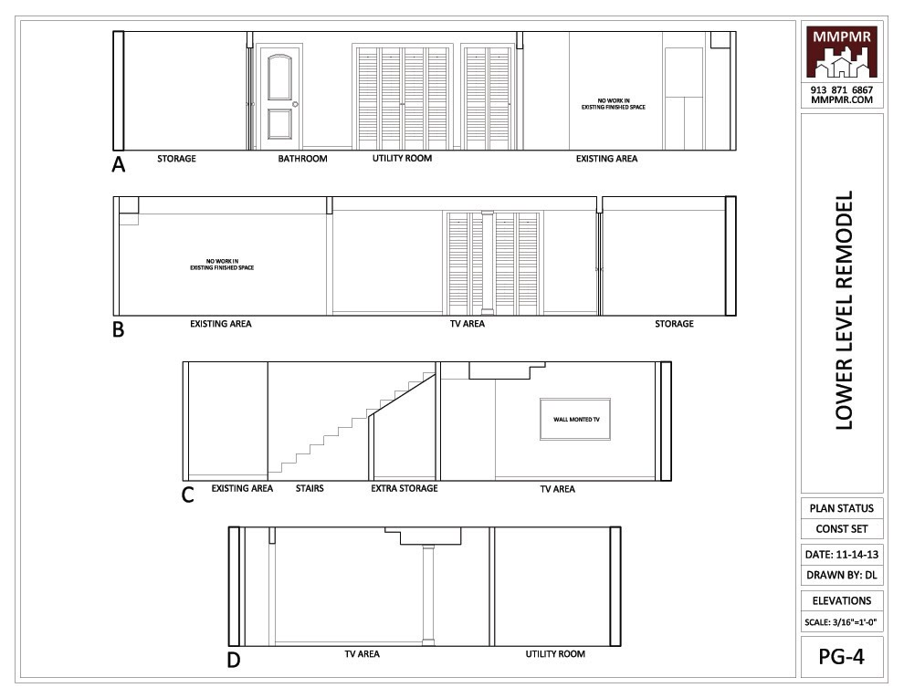 Simple North Kansas City Lower Level Construction Drawings