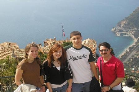 With students in Eze, France
