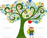 illustration of student under a tree