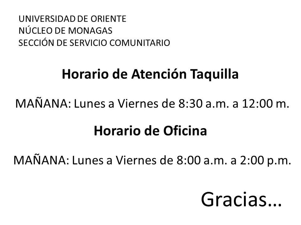 Contactanos servicio comunitario udo monagas for Horario oficina de empleo
