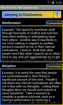 Mood Sentry's My Experiences page has a drop down to select a cognitive distortion and two editable text fields, one for the manifestation of the distortion and one of mitigation ideas.