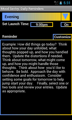 Mood Sentry's Reminders page has a drop down to select a reminder, a on off toggle button, a window to set the time of the reminder, and an editable text field that contains the reminder text.