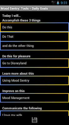 Mood Sentry's Daily Goals tool has text fields to record things to accomplish, learn, do for pleasure, and more.