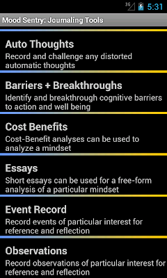 Mood Sentry's Journaling Tools page has links to 6 tools that can be used to journal thoughts, events, and even cost benefit analyses.