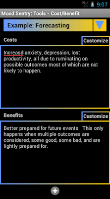 Mood Sentry's Cost Benefit tool has two editable text windows to enter the costs and benefits of a thought pattern.
