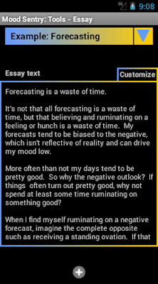 Mood Sentry's Essays tool lets the user record essays to him or her self.