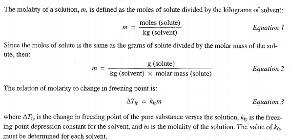molar mass by freezing point depression essay Experiment 4: freezing point depression 43 purpose: an unknown solid is to be identified from a list of possible compounds by its molar mass, which is determined by freezing point depression.