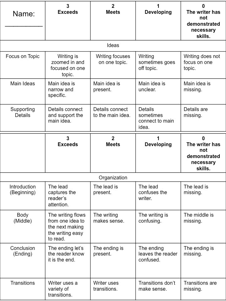 scoring rubric for writing an action plan