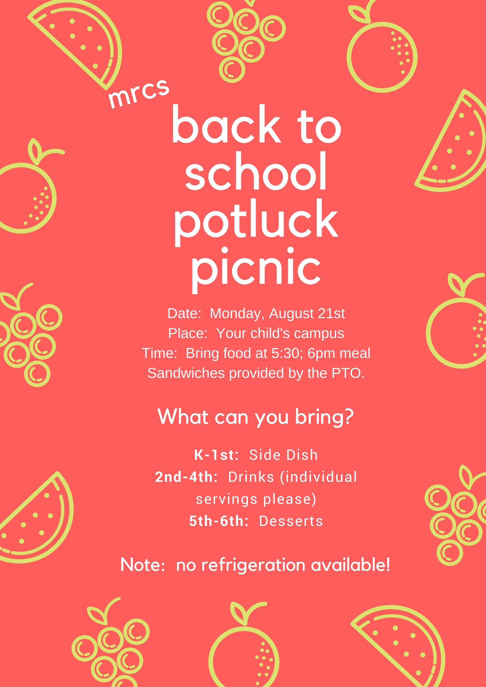 PTO Back to school potluck picnic