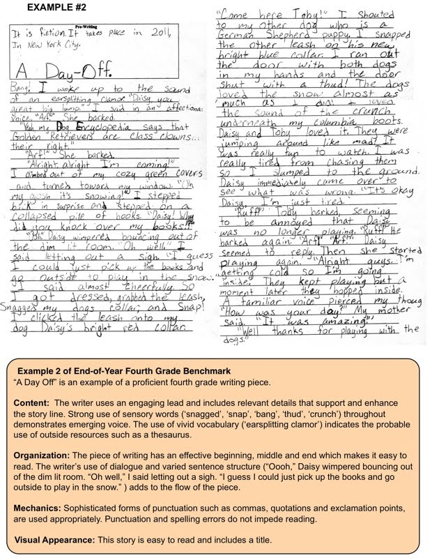 fourth grade writing samples
