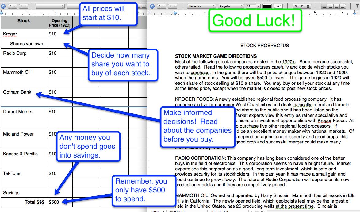 stock market game 1920 39 s 8th grade history 2011 12. Black Bedroom Furniture Sets. Home Design Ideas