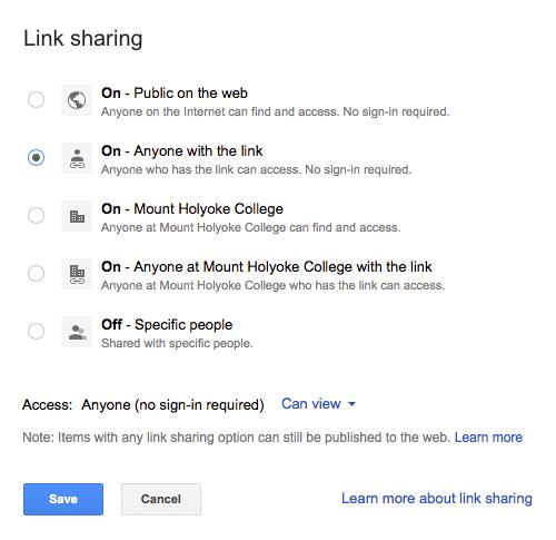 Link sharing menu