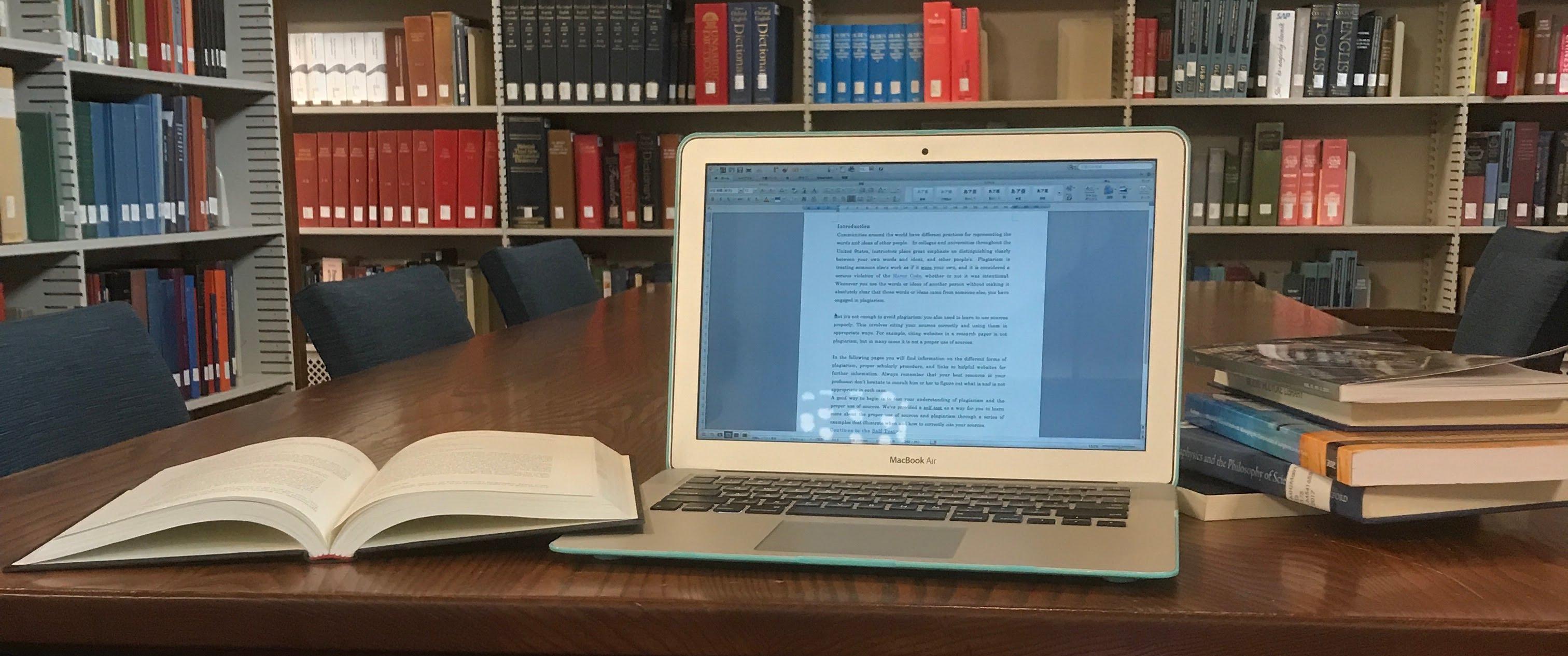 Image: Books, laptop