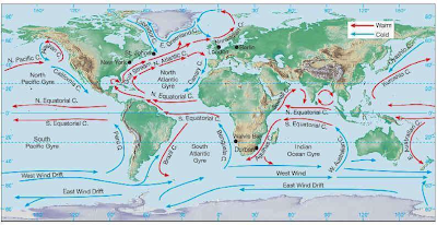 Major Ocean Currents Of The World Map.Wind And Surface Ocean Current Circulation Water