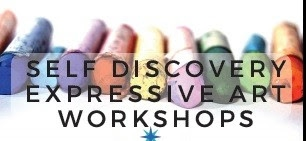 Self Discovery Expressive Art Workshops written over coloured crayons