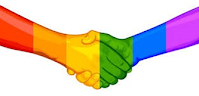 NICHE logo - two people shaking hands coloured in red, organge, yellow, green, blue and purple