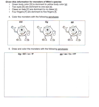 Worksheet Punnett Square Practice Worksheet punnett square practice worksheet with answers intrepidpath monsters inc punt life science homework