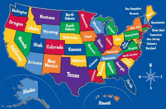States Map World Map - Fifty states map