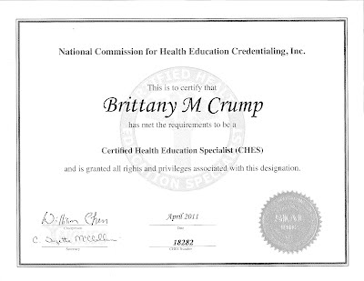 Certifications - Brittany Crump, CHES