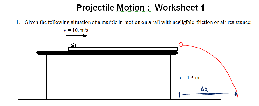 Honors Physics 2015 – Projectile Motion Worksheet