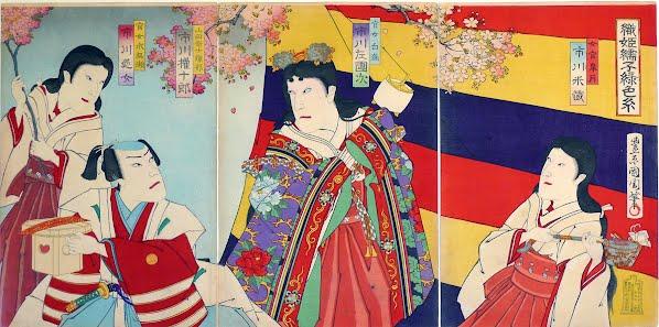 Ichikawa Yonezō, Ichikawa Sadanji II, Ichikawa Gonjūrō and Ichikawa Enjō in Orihime no Shusu Enishi no Iroito