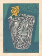 Untitled still life of crystal vase and rose