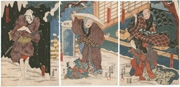 The actors Ōtani Tomoemon IV, Bandō Shuka I, Nakayama Bungorō II, Bandō Kichiya and Ichikawa Danjūrō VIII (in the play Akegarasu Hana no Nureginu)