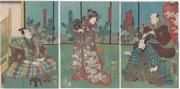 The actors Nakamura Nakasuke II, Nakamura Fukusuke, Nakamura Tomijūrō II and Ichikawa Danjūrō VIII (in the play Ume yanagi sakigake zōshi)