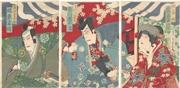 The Actors Iwai Hanshirō VIII, Ichikawa Danjūrō IX and Bandō Kakitsu in the play Jiraiya gōketsu monogatari
