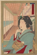 Beauty drinking tea from the series Newly Woven Brocades: Beauties of Musashi
