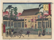 Akasaka Kinokuni-zaka and Akasaka Temporary Palace from the series Famous Places of Tokyo: Past and The Present