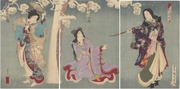 Kataoka Gadō, Nakamura Fukusuke and Iwai Matsunosuke in Hibariyama koma tsunagi matsu