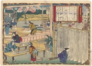 Making Sōmen in Noto Province from the series Dai Nippon Bussan Zue (Products of Greater Japan)