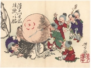 Children Blowing up the Belly of Hotei and Painting It Like a Candy from the series Sketches by Yoshitoshi