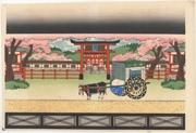 Bunraku Puppet Stage Set for the Scene Tearing the Carriage Apart in Sugawara Denju Tenarai Kagami [Sugawara and the Secrets of Calligraphy]