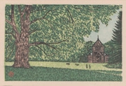 Hokkaido Imperial University Botanical Garden, No. 2 from the portfolio Scenic Views of Sapporo Hand-printed Woodblock Collection, Volume 1