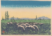 Outskirts, Pasturage, Tsukisappu Sheep Farm, No. 4 from the portfolio Scenic Views of Sapporo Hand-printed Woodblock Collection, Volume 1