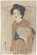 Woman in Light Brown Stripped Kimono (untitled)