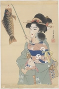 Bijin with child holding carp streamer marking Boys' Day (untitled)