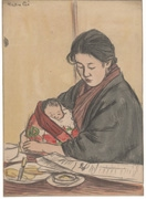 Woman holding baby (untitled)