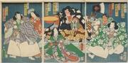 Kawarazaki Gonjūrō, Nakamura Ganpachi, Arashi Kangorō, Seki Sanjūrō III, Sawamura Tanosuke III, Nakamura Ichō and Bandō Hikosaburō V in the play Imayō Shuten Dōji