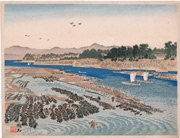 Mount Fuji from Lake Hamana, Benten Island from the series Twenty-Five Views of Mount Fuji: A Woodblock Collection