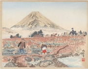 Sanomura and Mount Fuji from the series Twenty-Five Views of Mount Fuji: A Woodblock Collection