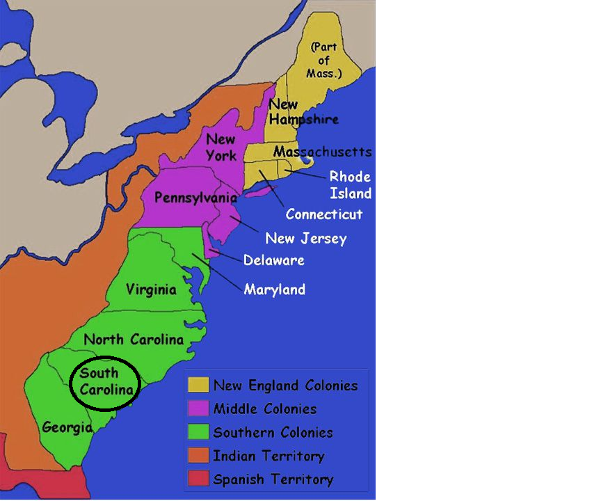 Thirteen Colonies Map Map of the 13 Colonies   South Carolina Thirteen Colonies Map