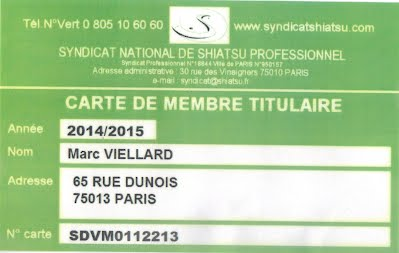 Membre du Syndicat National de Shiatsu Professionnel