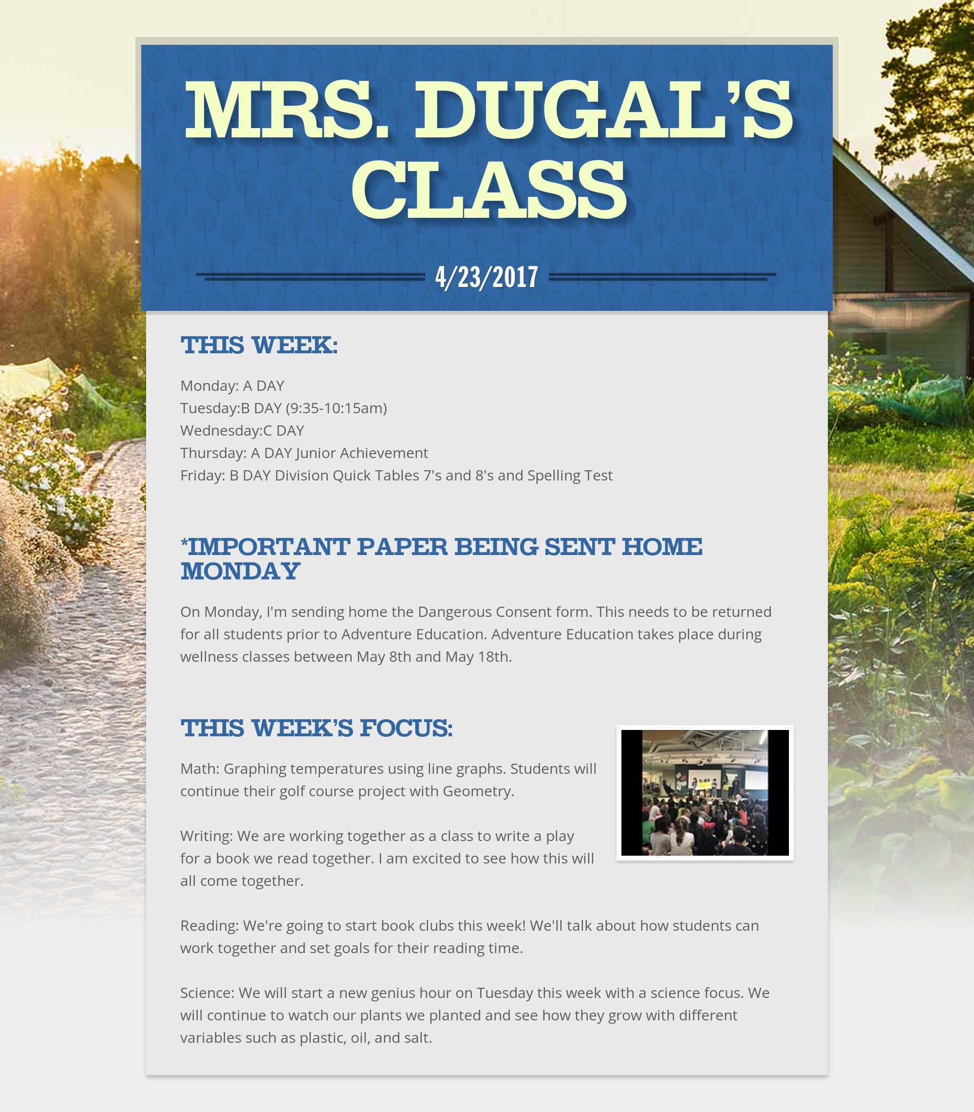 Class Announcements Mrs Dugal