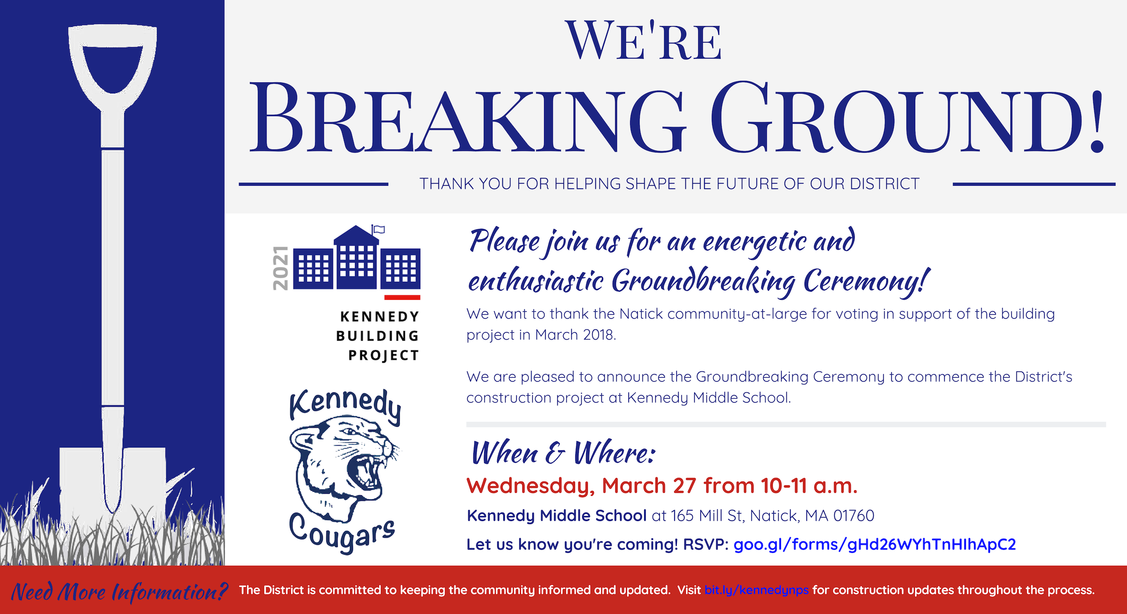Flyer with info about KMS groundbreaking on March 27th at 10am, Kennedy Middle School in Natick.