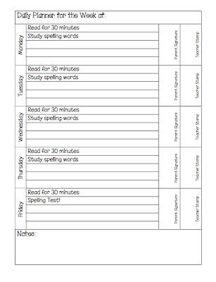 homework daily planner. Black Bedroom Furniture Sets. Home Design Ideas