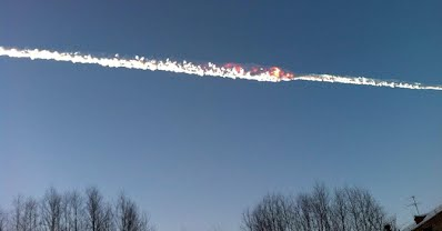 Smoke trail over sky in Chelyabinsk region